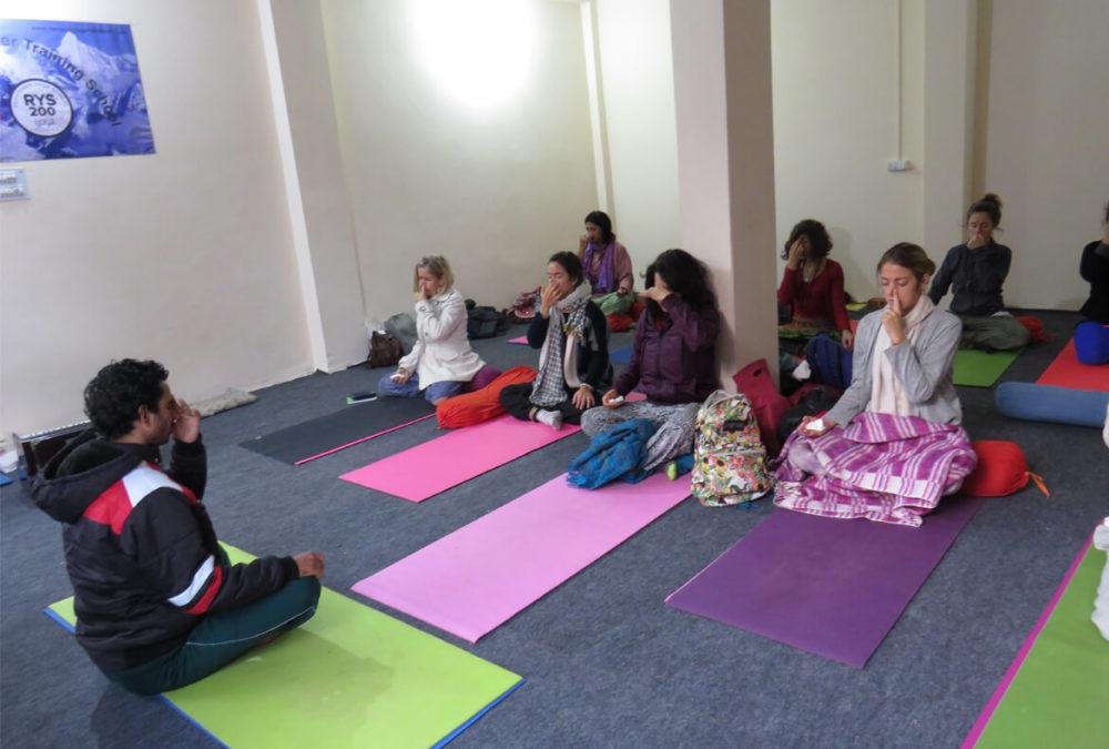 group doing yoga at narayan yoga school rishikesh india