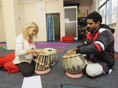 tabla class at narayan yoga and music school rishikesh india