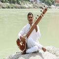 yogi narayan bhatt with sitar at ganga beach